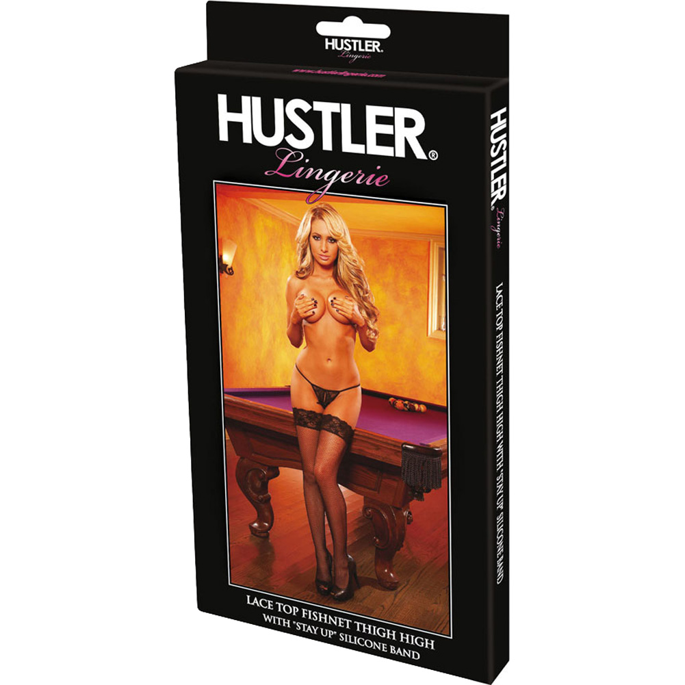 Hustler Fishnet Thigh High Stockings One Size Fits Most Black - View #4