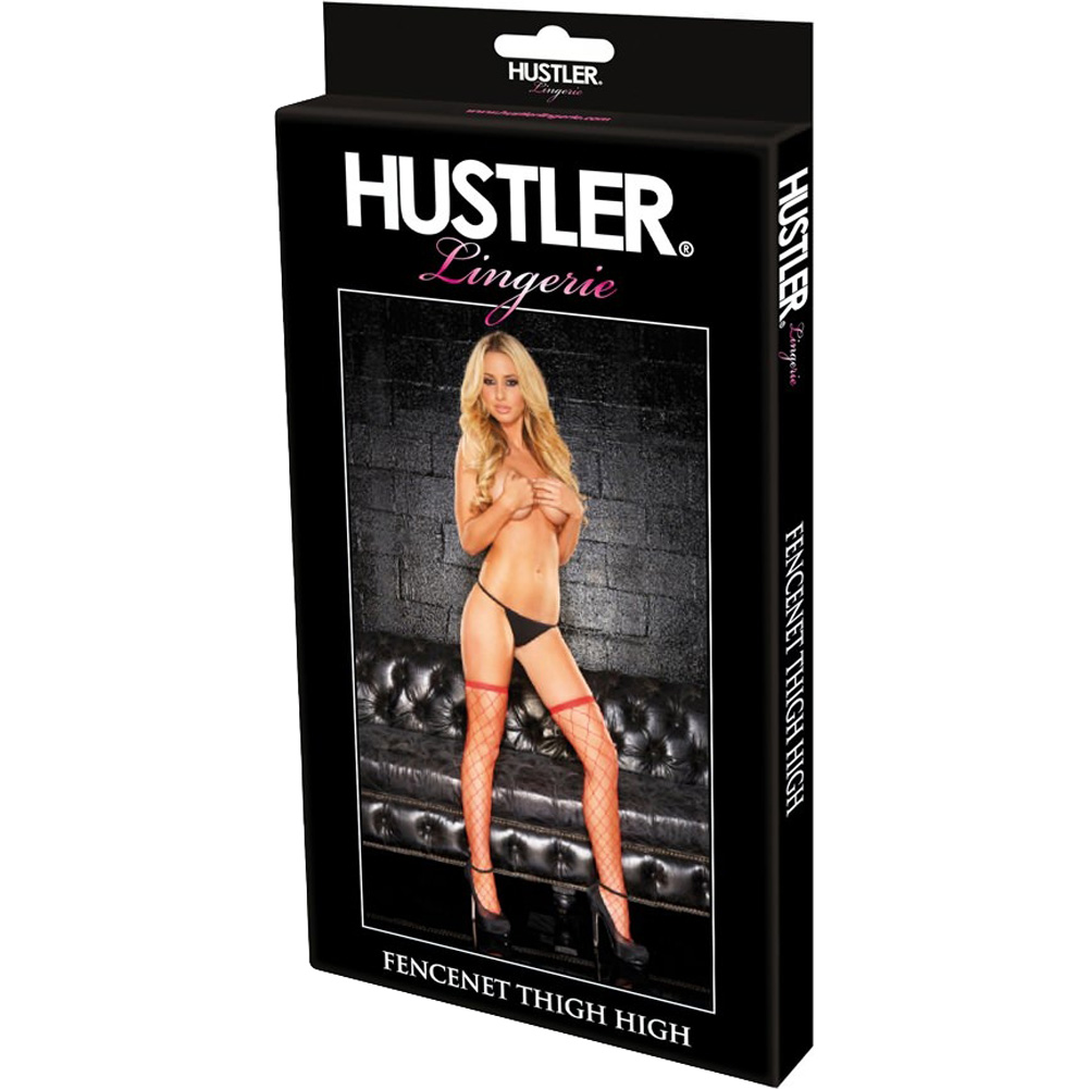 Hustler Fencenet Thigh High Stocking One Size Fits Most Red - View #2