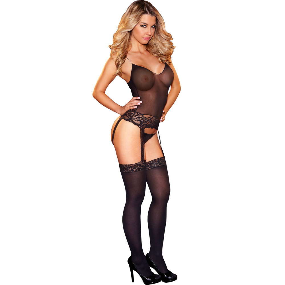Hustler One Piece Lace Bustier with Thigh High Stockings One Size Black - View #1