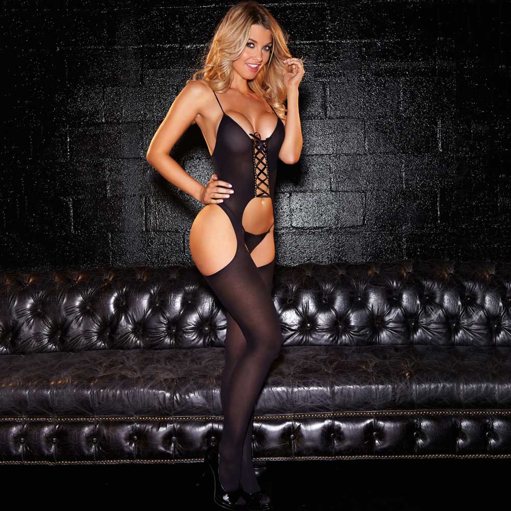 Hustler Crotchless Sheer Lace Up Bodystocking One Size Black - View #3