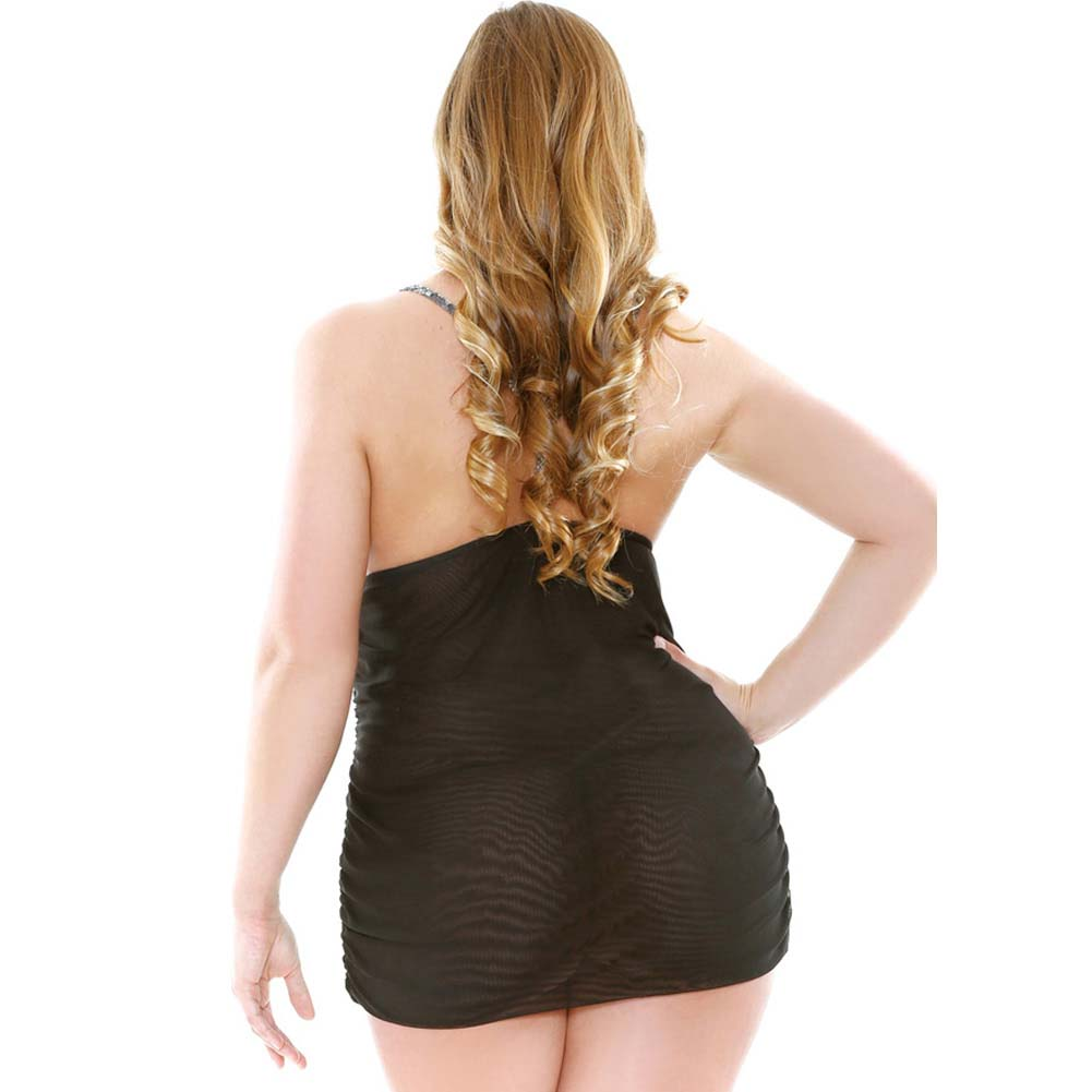 Dark Floral Panel Chemise Set with G-String Plus Size 1X/2X Black - View #2