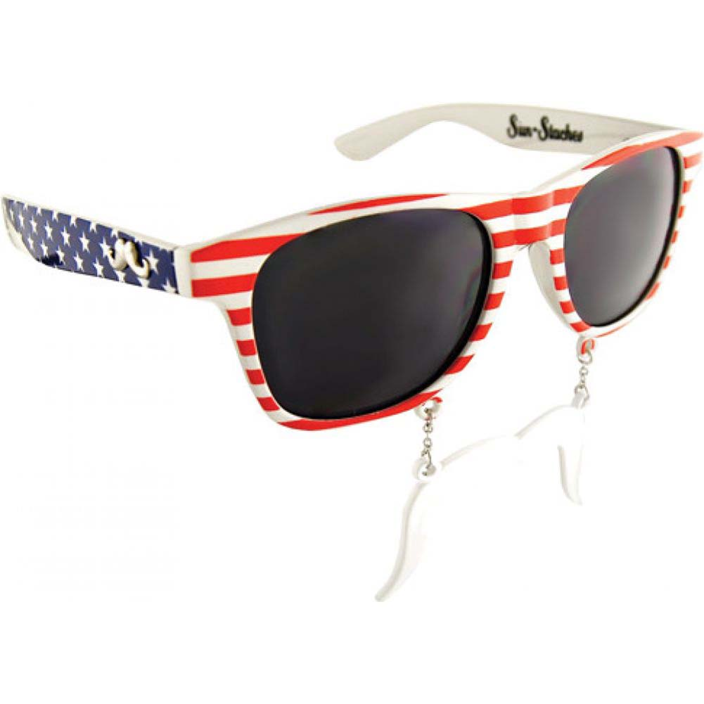 Sun Staches Americana Sunglasses with an Attached Moustache - View #1