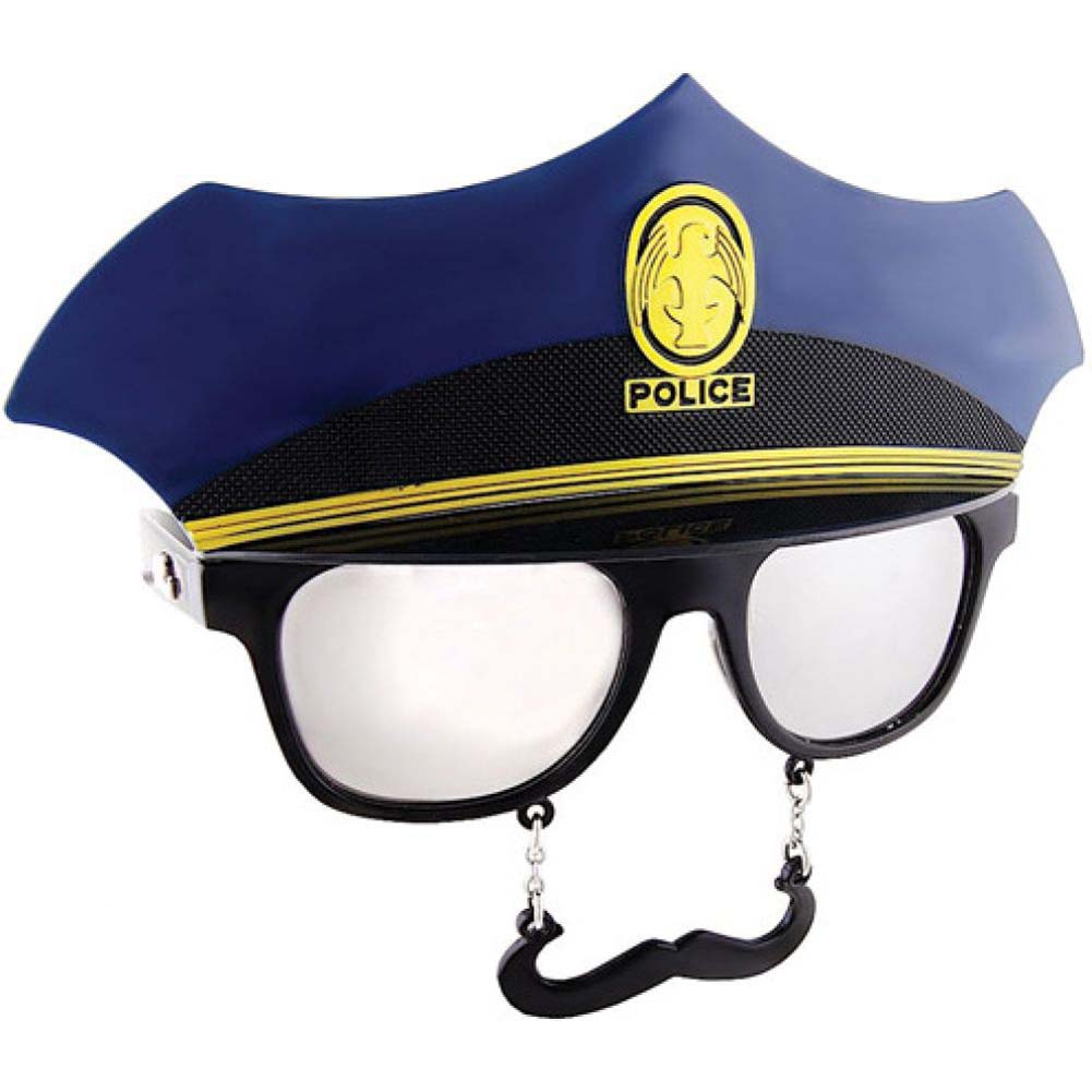 Sun Staches Sunglasses with an Attached Moustache Police Officer - View #1