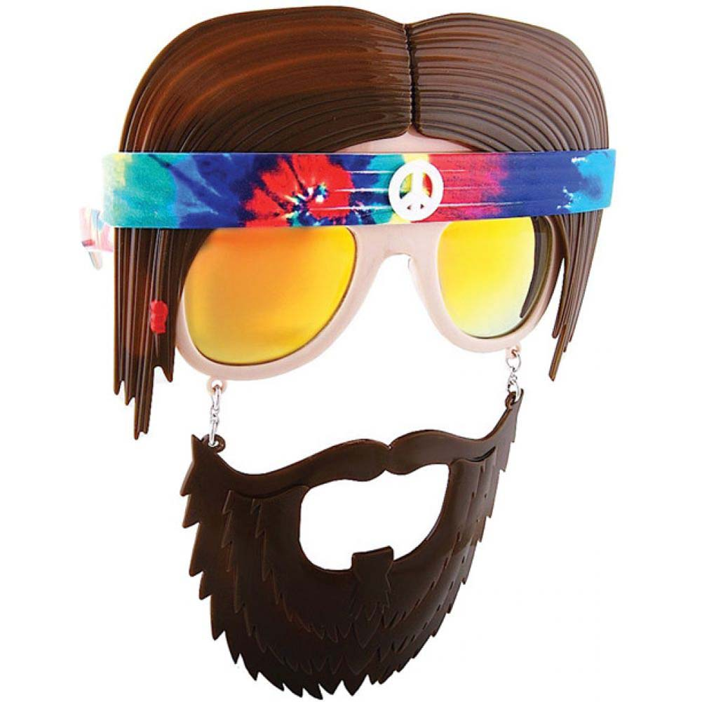 Sun Staches Sunglasses with an Attached Moustache Bearded Hippie - View #1