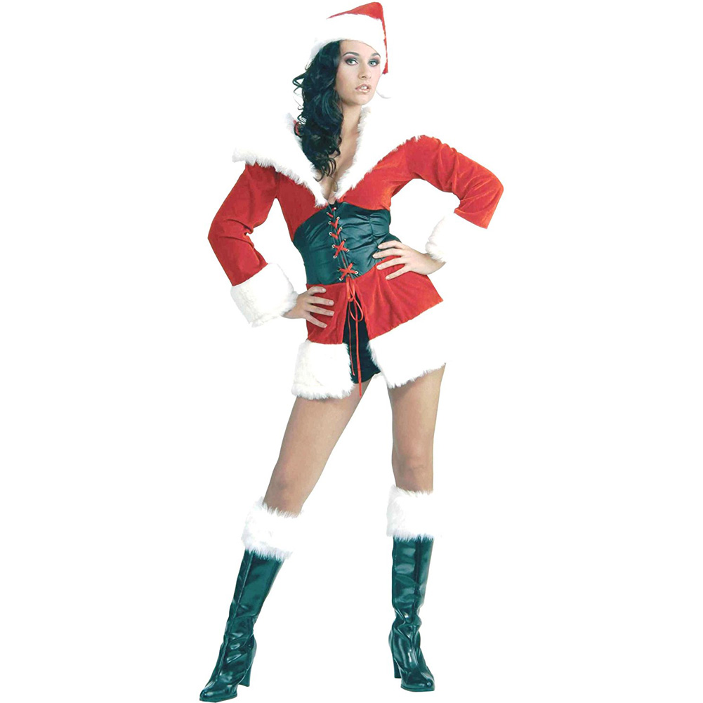 Short and Sweet Santa Fur Trimmed Costume Medium/Large Red - View #2
