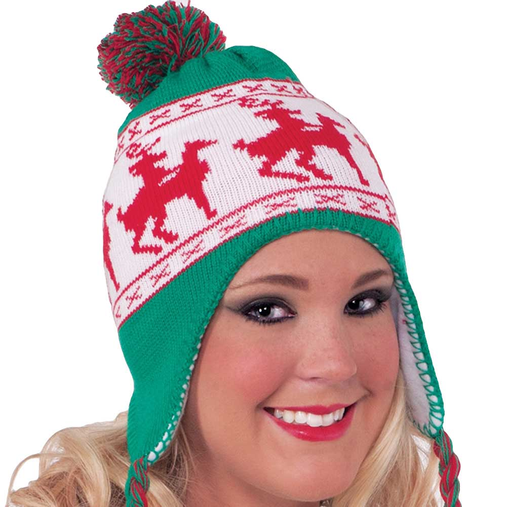 Forum Novelties Reindeer Games Laplander Hat One Size Green and Red - View #1