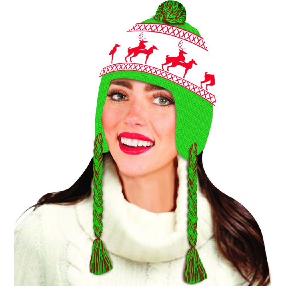 Forum Novelties Reindeer Games Laplander Hat One Size Green and Red - View #3