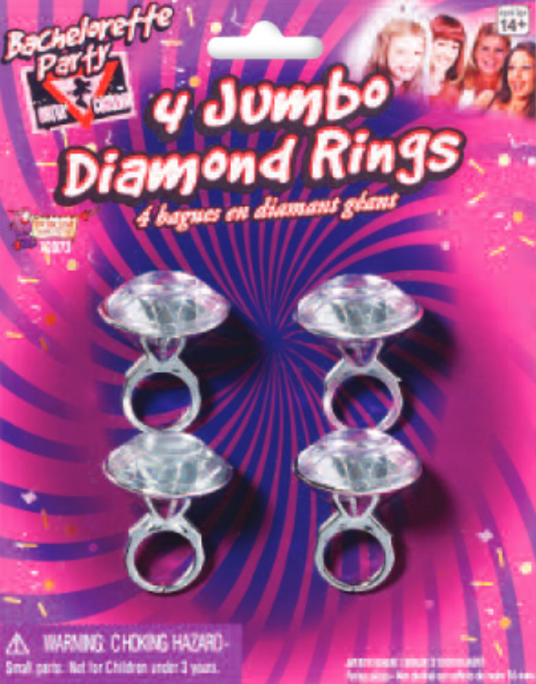 Forum Novelties Bachelorette Party Outta Control Jumbo Diamond Ring - Pack of 4 - View #1