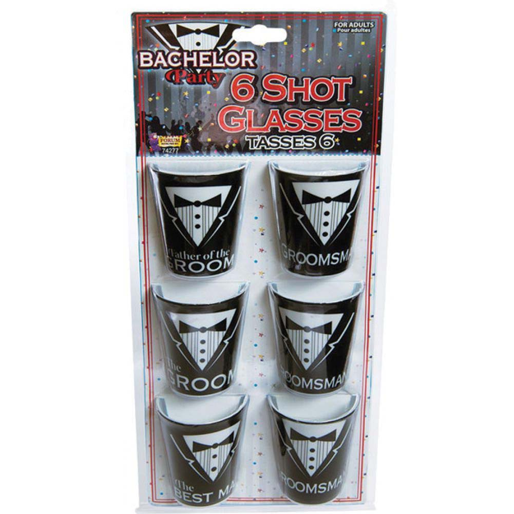 Forum Novelties Bachelor Party Shot Glasses Assorted Pack of 6 Black and White - View #1