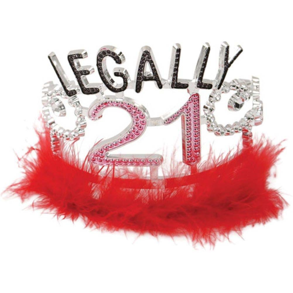 Forum Novelties Legally 21 Tiara with Marabou Feathers One Size Red - View #1
