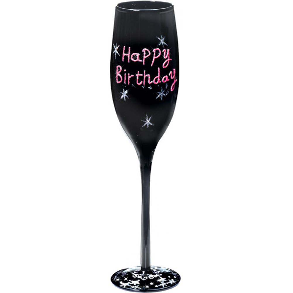 Forum Novelties Happy Birthday Fluted Glass Black - View #1