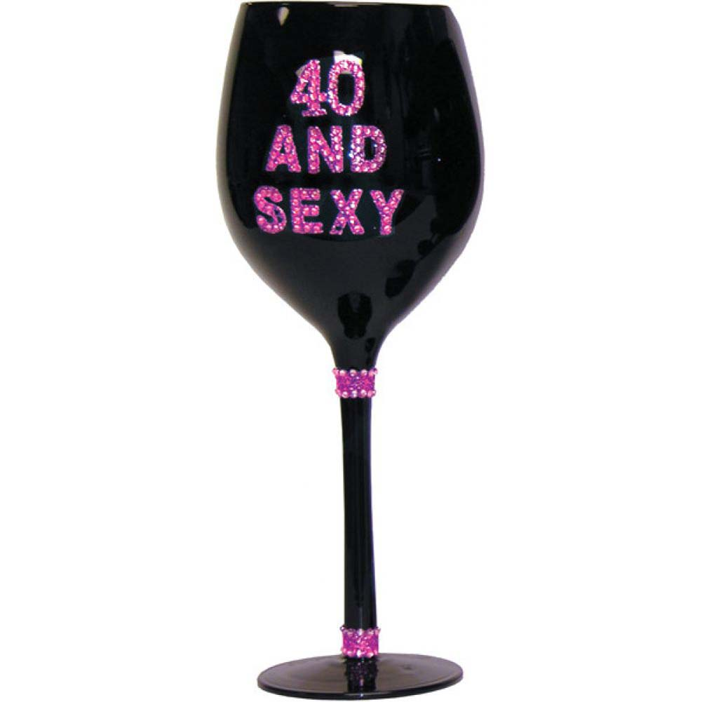 Forum Novelties 40 and Sexy Wine Glass Black - View #1