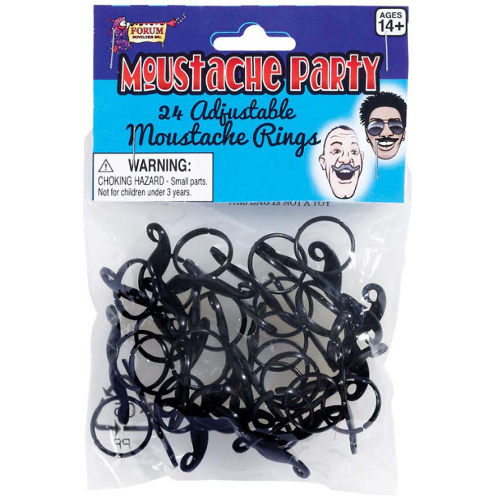 Forum Novelties Mustache Party Adjustable Mustache Ring Black Pack of 24 - View #1