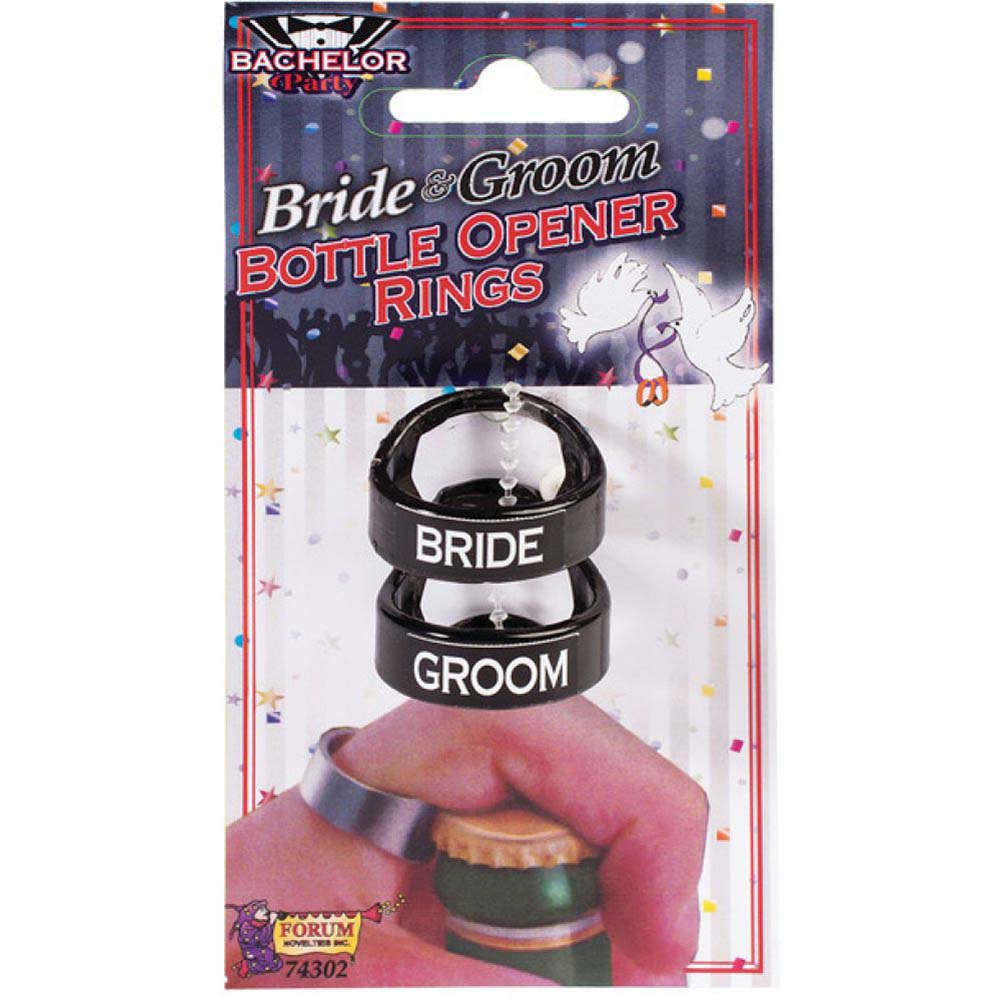 Forum Novelties Bachelor Party Bride Groom Bottle Opener Rings Pack of 2 - View #1