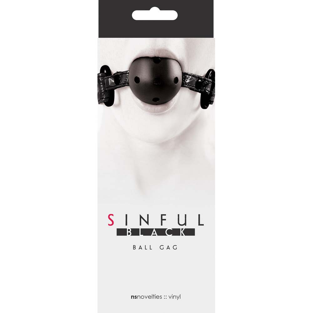 NS Novelties Sinful Ball Gag Black - View #1