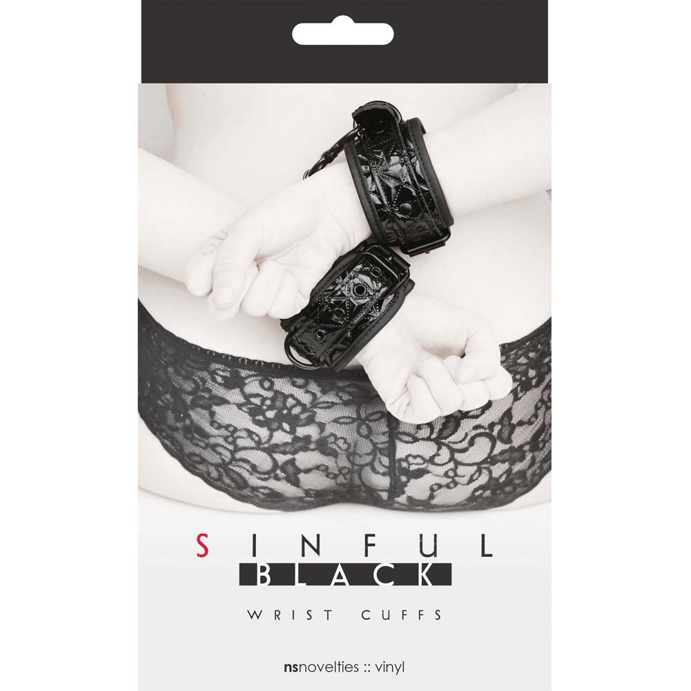 NS Novelties Sinful Wrist Cuffs Black - View #1