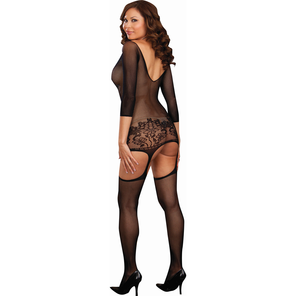 Dreamgirl Fishnet Garter Dress with Lace Hem and Attached Stockings Plus Size Black - View #2