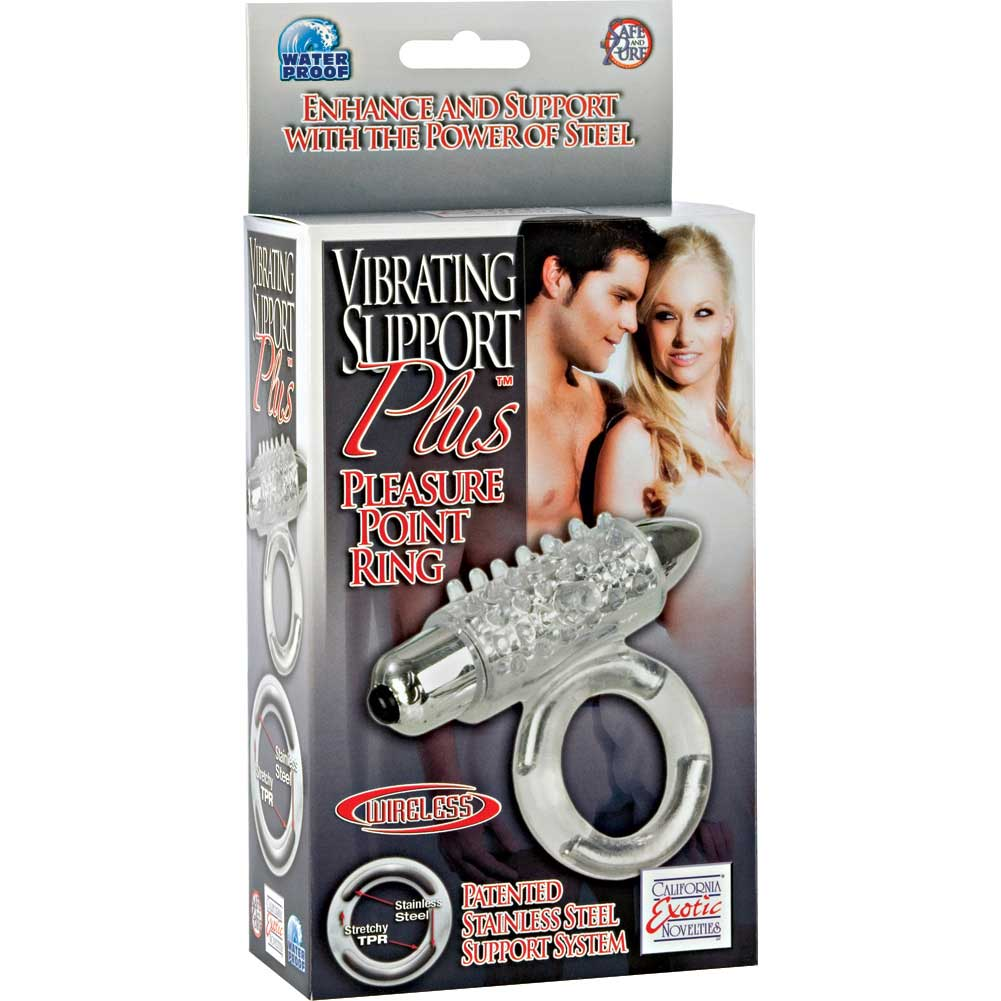 Vibrating Support Plus Pleasure Point Ring - Clear - View #4