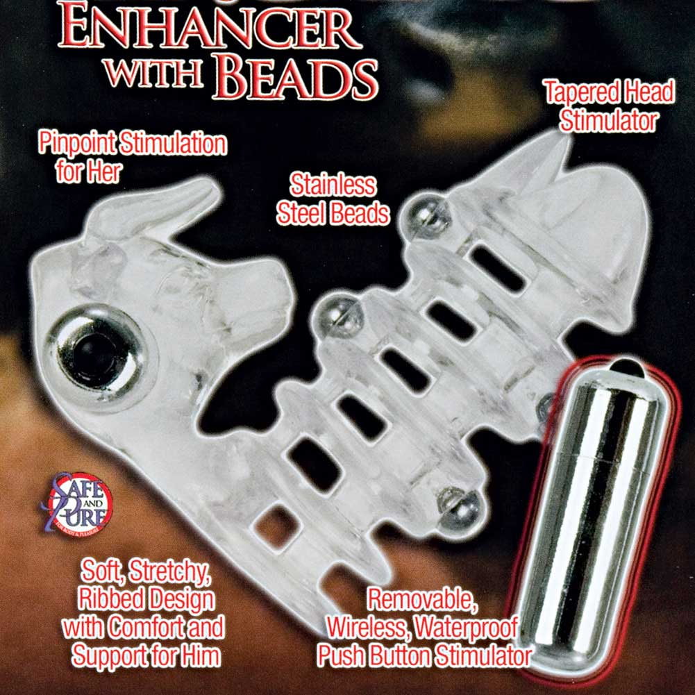 "CalExotics El Toro Enhancer Sleeve with Beads 3.5"" Clear - View #1"