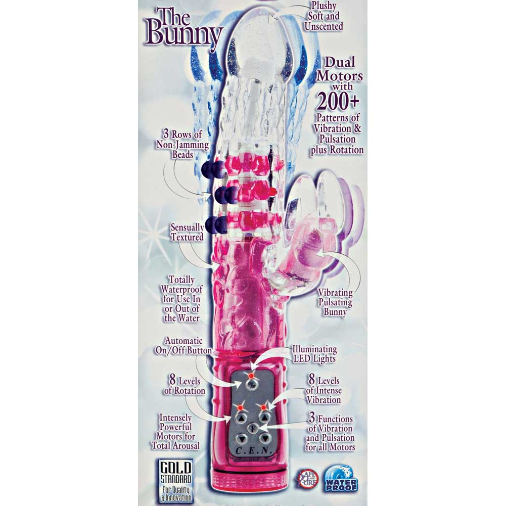 "California Exotics Glitter Glam Bunny Waterproof Rabbit Massager 11"" Pink - View #1"