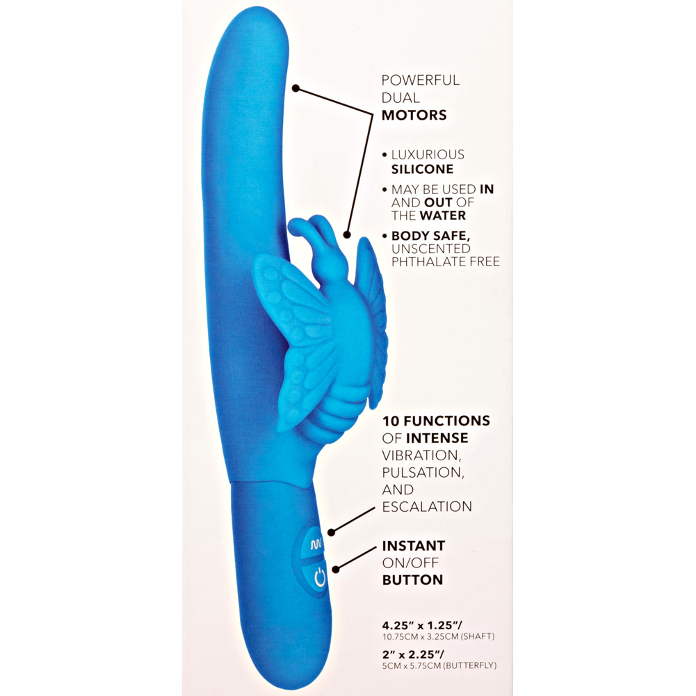 "California Exotics Posh 10 Function Silicone Fluttering Butterfly Vibrator Blue 7.5"" - View #1"