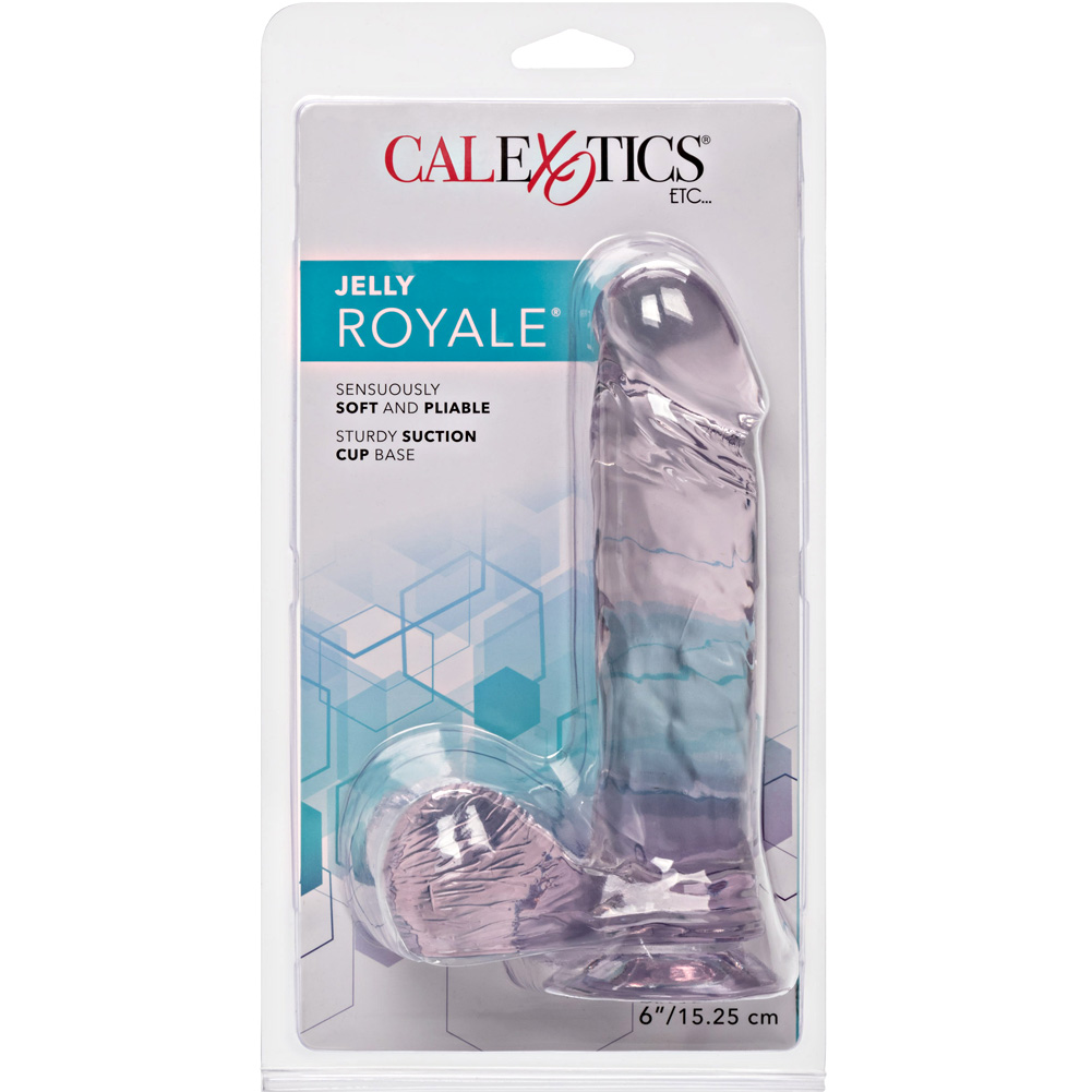 "California Exotics Jelly Royale Ballsy Realistic Dong with Suction Cup 6"" Clear - View #4"
