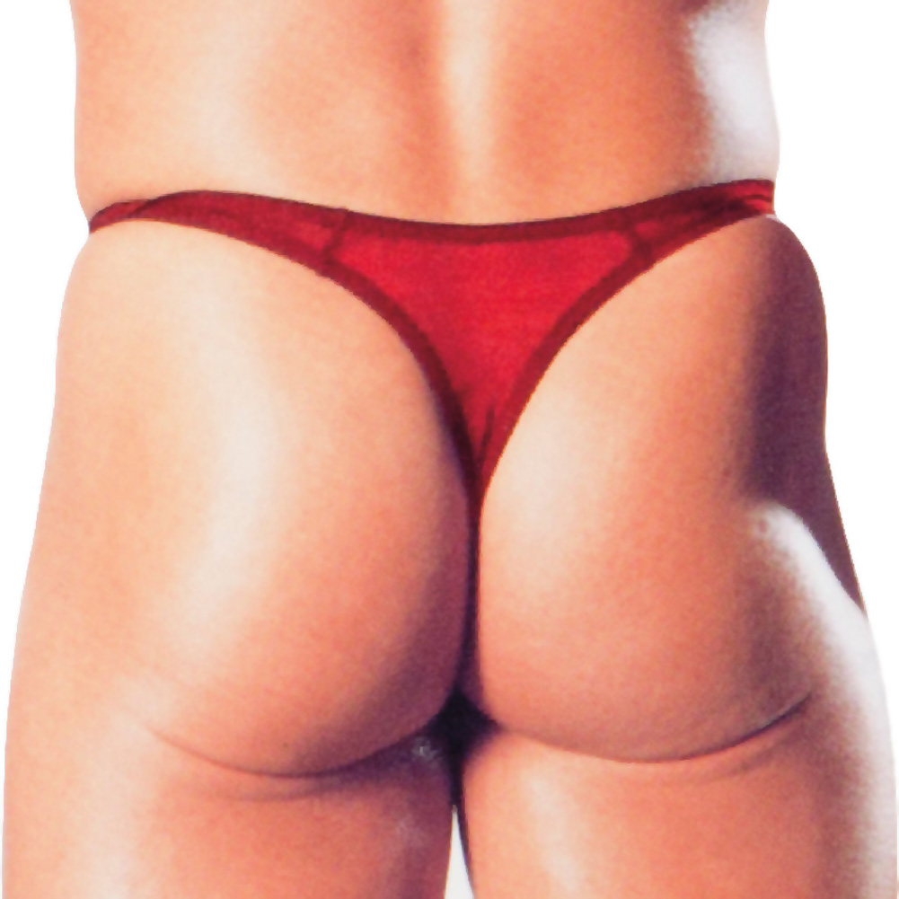 Calexotics Mens Sexy Sheer Mesh Thong One Size Scarlet Red - View #2
