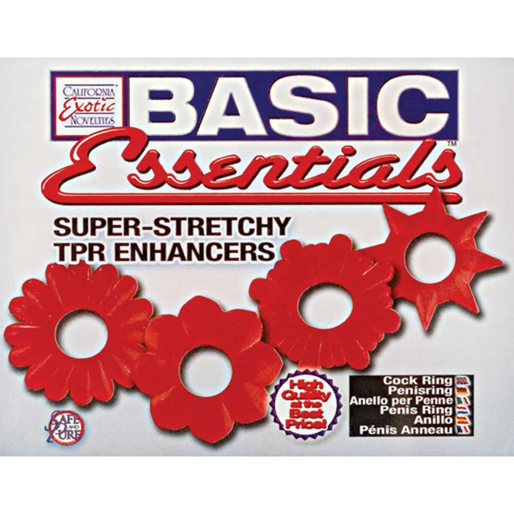 Basic Essentials Cockrings 4 Pack - Red - View #1