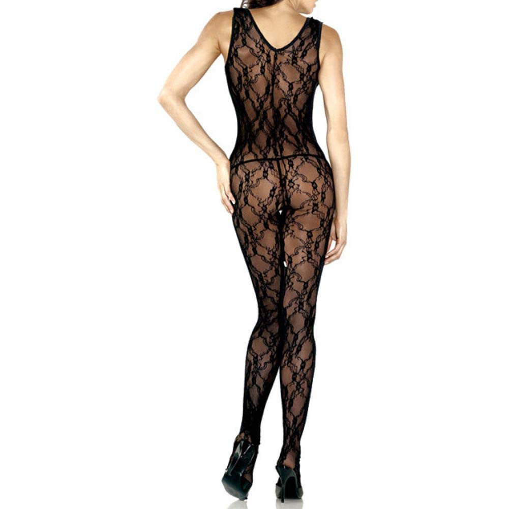 Lace Floral Deep V Bodystocking With Rhinestone Queen Size Black - View #2