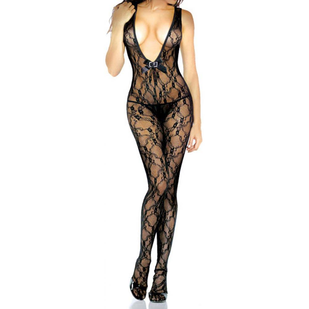 Lace Floral Deep V Bodystocking With Rhinestone One Size Black - View #1