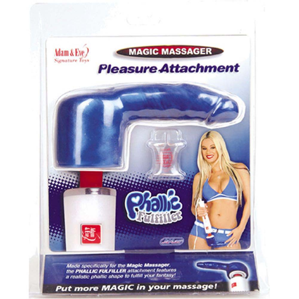 "Magic Massager Pleasure Attachment Phallic Fulfiller 4"" Blue - View #1"