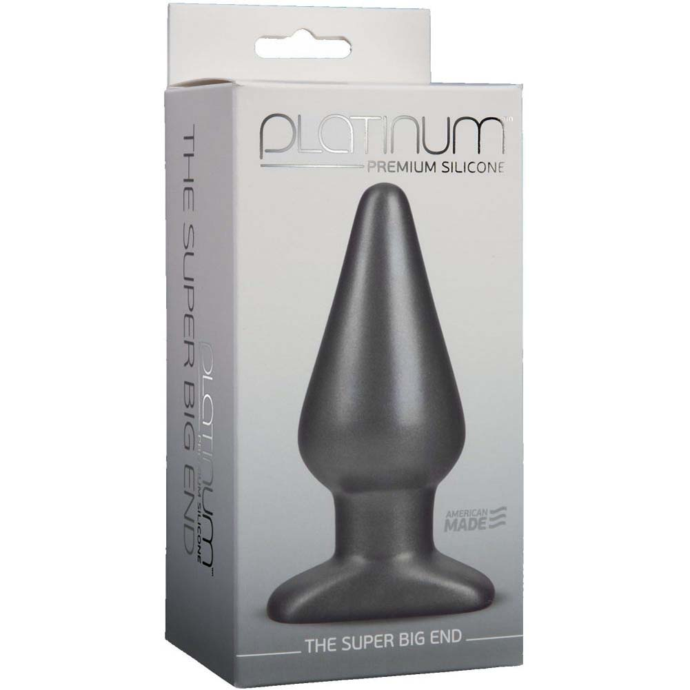 "Doc Johnson Platinum Silicone Super Big End Anal Plug 5.4"" Charcoal - View #4"