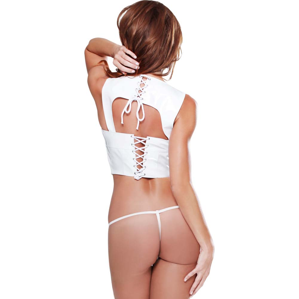 Pipedream Fetish Fantasy Open Bust Corset with Lace-Up Back Closure G-String Large White - View #2