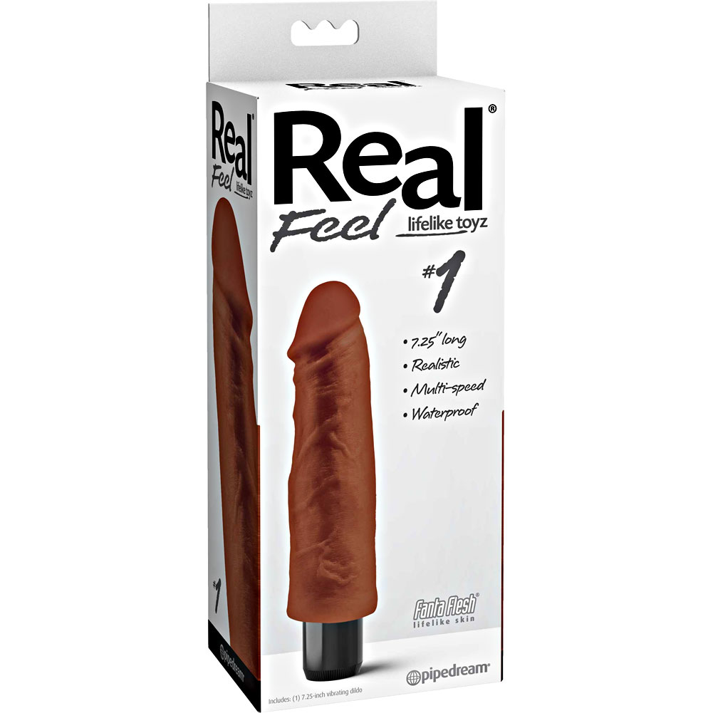 "Pipedream Real Feel No 1 Long Waterproof Multi-Speed Vibrator 8"" Brown - View #1"