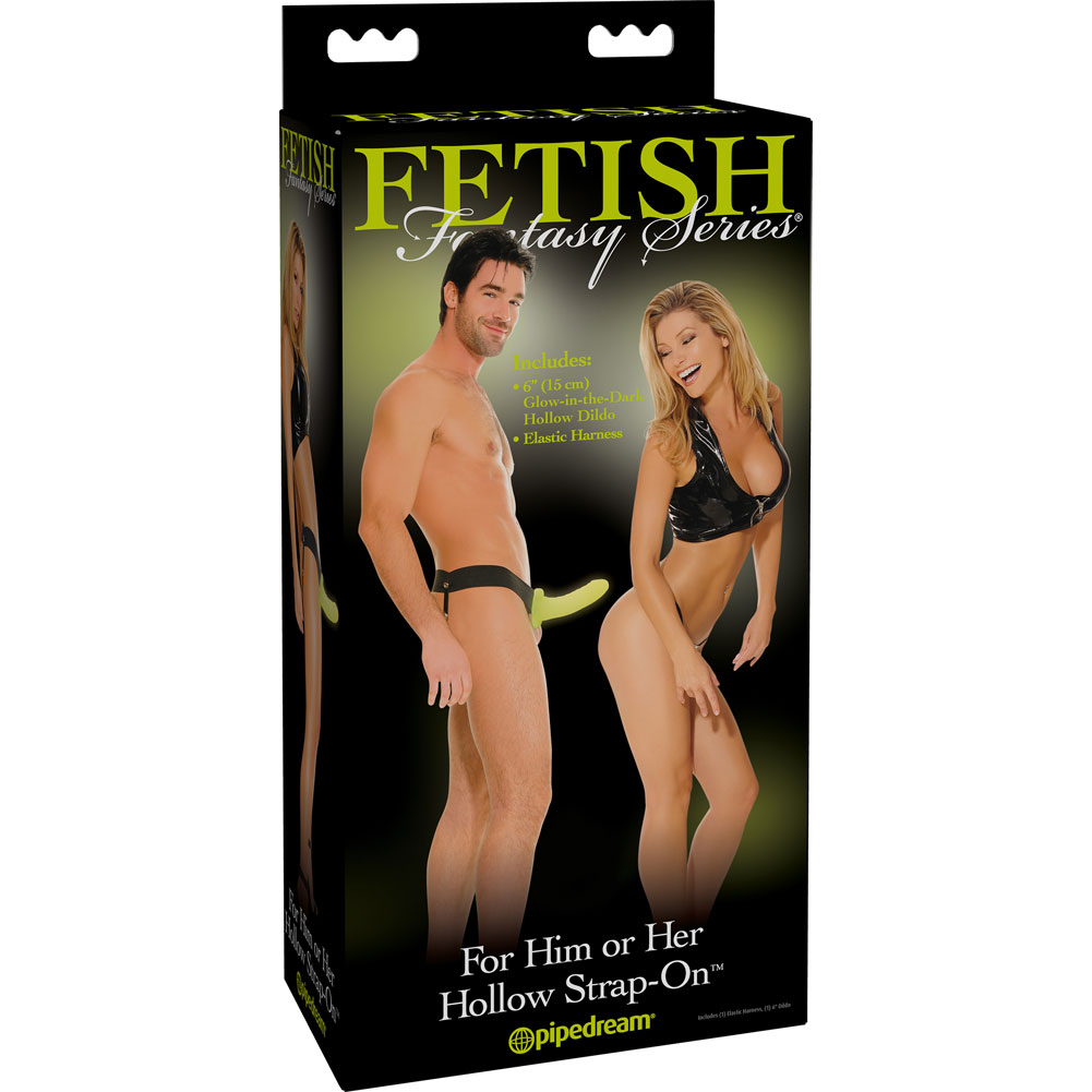 "Fetish Fantasy Hollow Strap-On For Him or Her 6.5"" Glow In The Dark - View #4"
