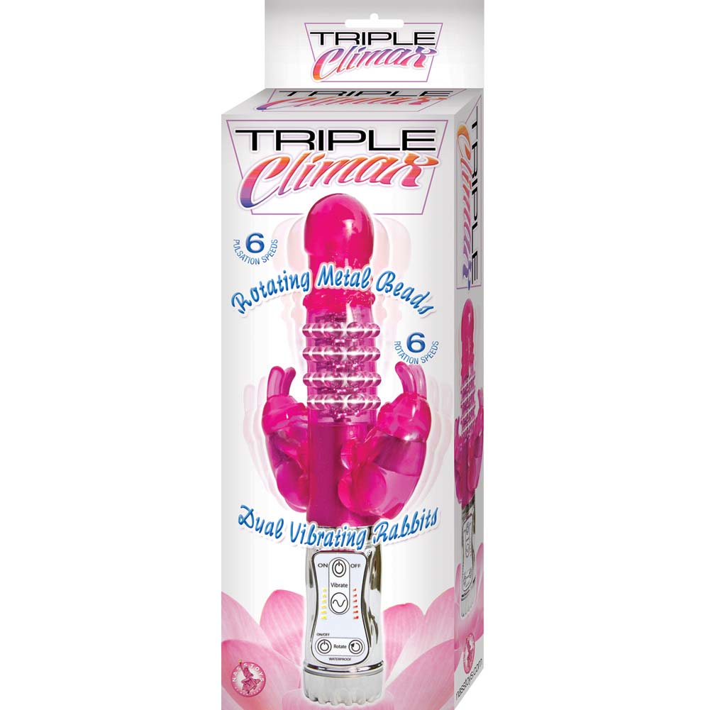 "Nasstoys Triple Climax Vibrating Rabbit 6 Speed 11"" Pink - View #1"