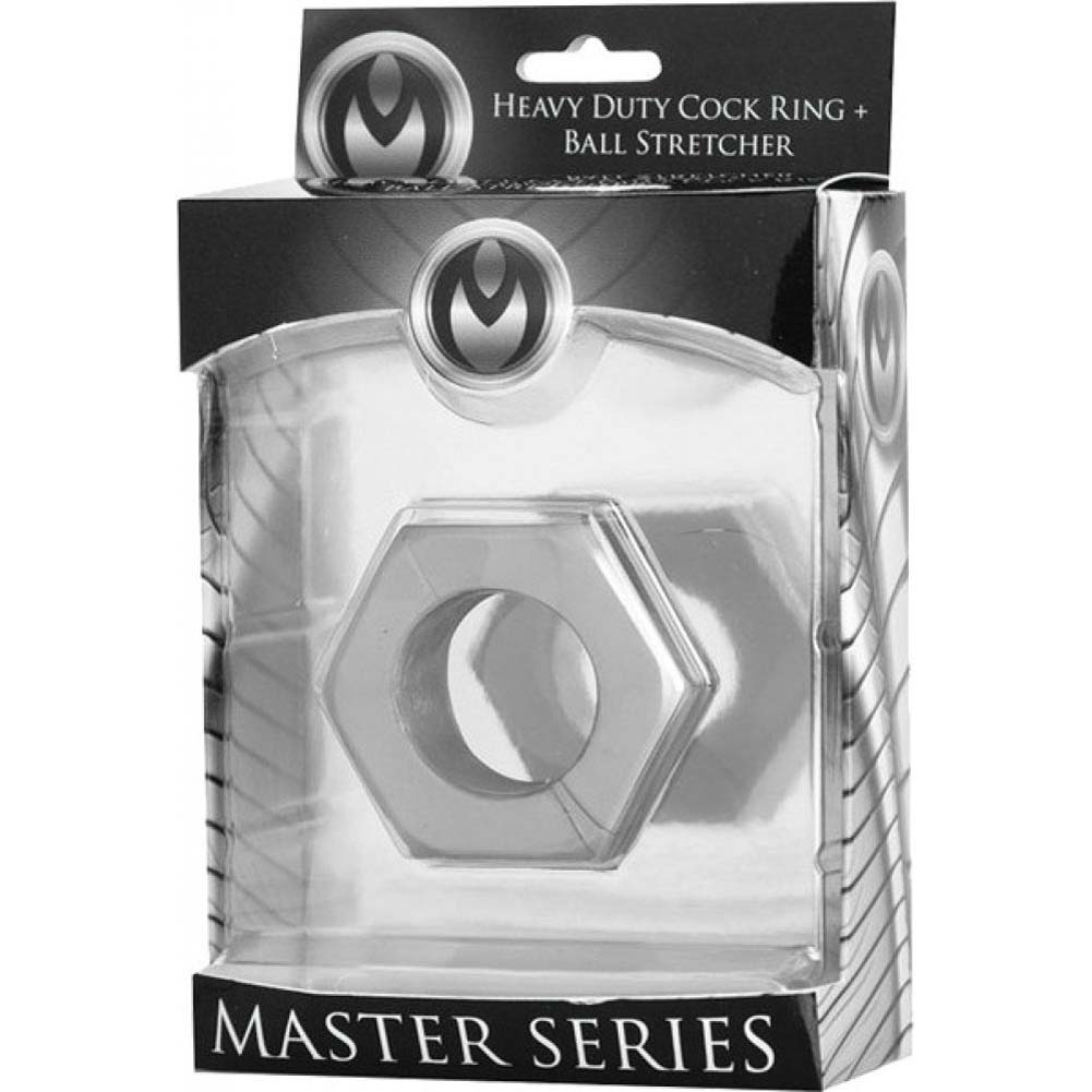 Master Series Silver Hex Heavy Duty Cock Ring Ball Stretcher - View #1