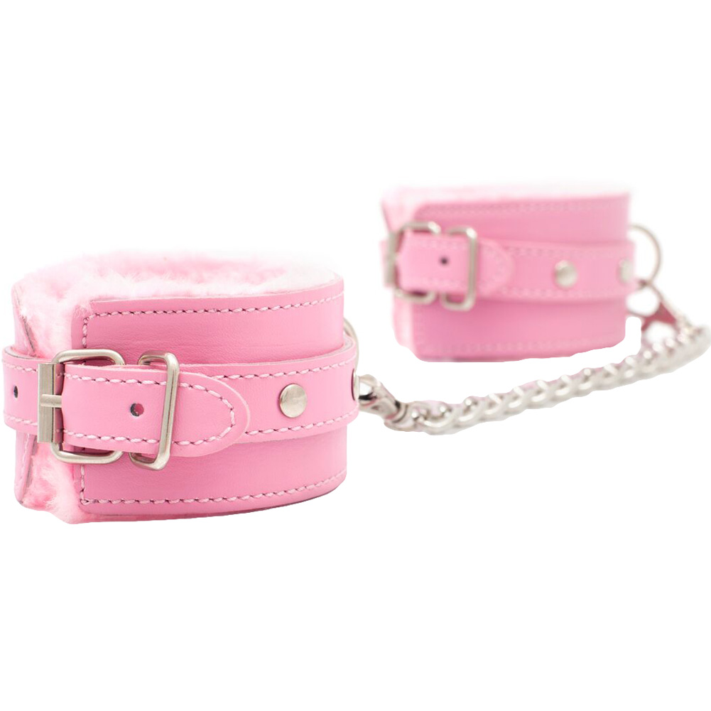 SI Novelties BFF Collection Kinky Kuffs with Chain Pink - View #2