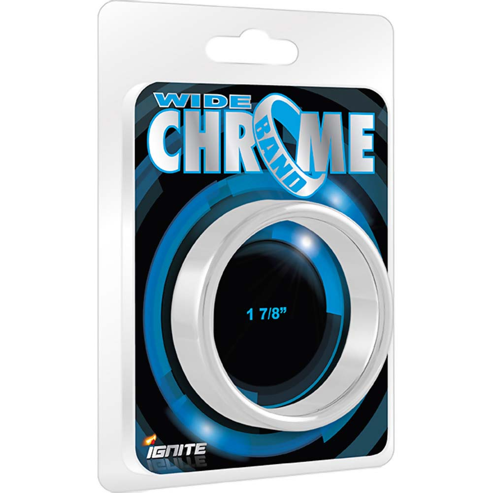 "SI Ignite Novelties Wide Chrome Band Cock Ring 1.88"" Robust Steel - View #1"