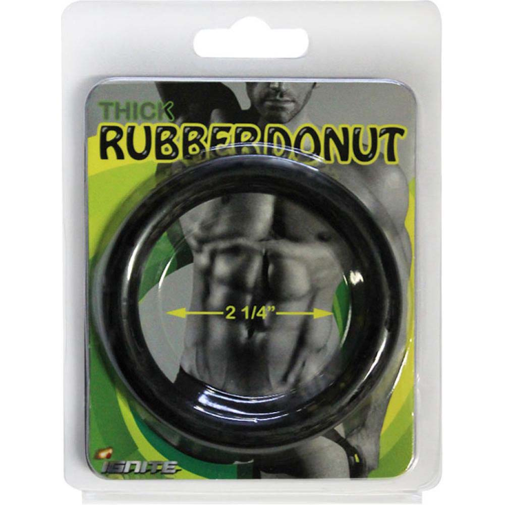 "SI Novelties Thick Rubber Donut 2.25"" Cock Ring Black - View #1"