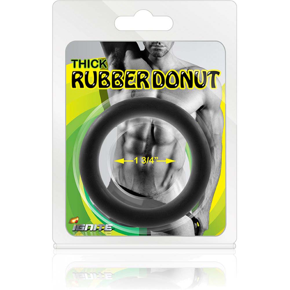 "SI Novelties Thick Rubber Donut 1.75"" Cock Ring Black - View #3"
