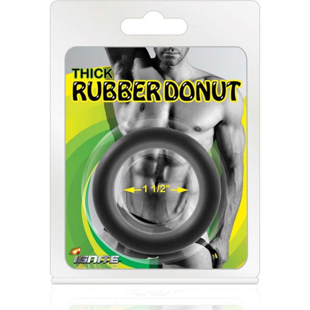 "SI Novelties Thick Rubber Donut 1.5"" Cock Ring Black - View #2"