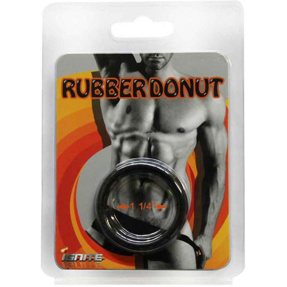 "SI Novelties Rubber Donut 1.25"" Cock Ring Black - View #1"