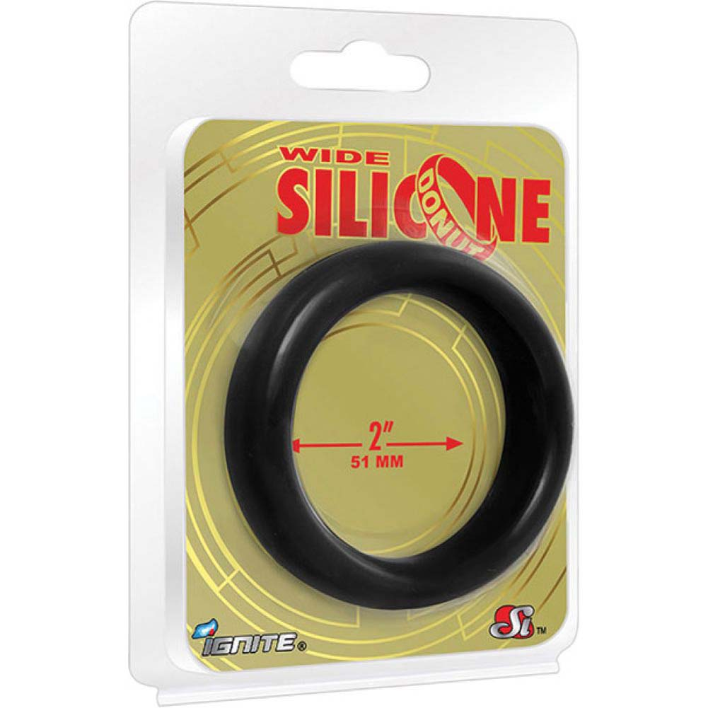 """SI Novelties Wide Silicone Donut Cockring for Men 2"""" Black - View #1"""
