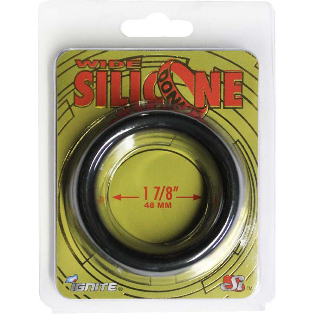 "SI Novelties Wide Silicone Donut Cockring for Men 1.88"" Black - View #2"