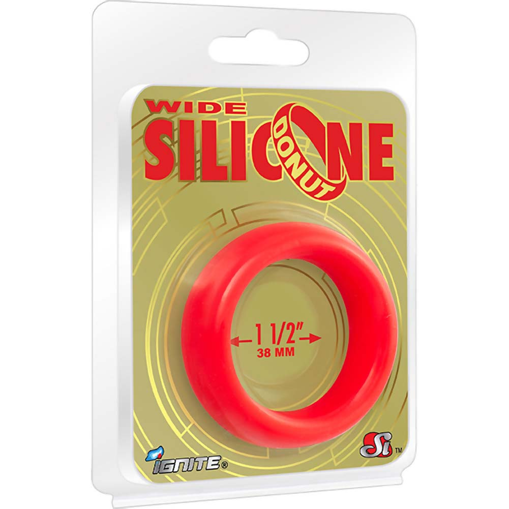 "SI Novelties Wide Silicone Donut Cockring for Men 1.5"" Red - View #1"