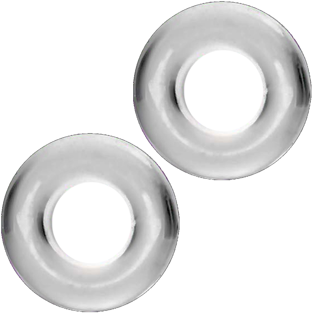 SI Novelties Ignite Thick Power Stretch Donut Cock Rings Pack of 2 Erection Rings Clear - View #2