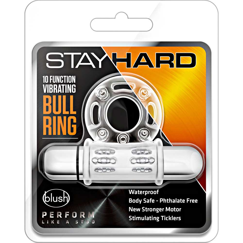 "Blush Novelties Stay Hard Vibrating Clit Flicker Cock Ring 2.25"" Clear - View #1"