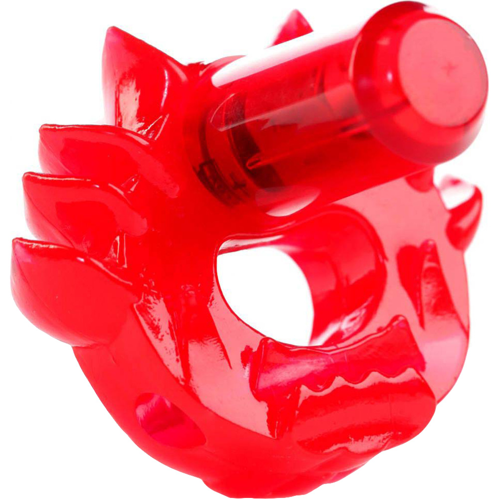 Crossbones Flame Thrower Single Bullet Vibrating Cockring Red - View #3