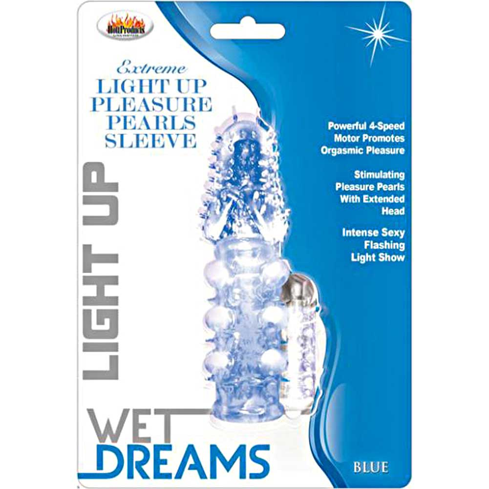 Hott Products Pulsating Pearl Light Up Vibrating Pleasure Sleeve Blue - View #1